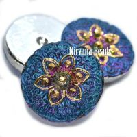 18mm Arabian Star Cabochon Vitrail Green with Blue Wash and Gold Accents