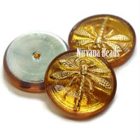 18mm Dragonfly Cabochon Yellow with AB Finish and Gold Dragonfly