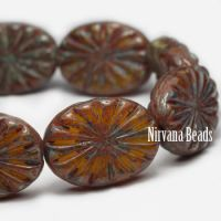 14x18mm Carved Oval Burnt Orange with a Heavy Picasso Finish