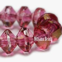 6x9mm Saucer Medium Pink with Golden Luster