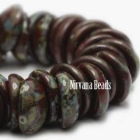 4x8mm Piggy Bead Burnt Umber with Picasso Finish