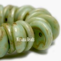 4x8mm Piggy Bead Celadon with Picasso Finish