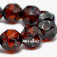 8mm Baroque Beads Alloy Orange with Picasso Finish