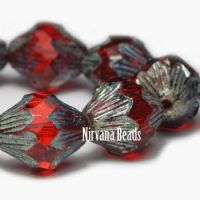11x13mm Baroque Bicone Scarlet Red with a Picasso Finish