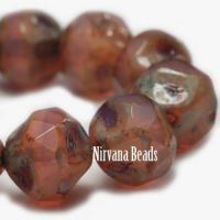 8mm Baroque Beads Dusty Rose with a Picasso Finish