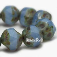 8mm Baroque Beads Cornflower with Picasso Finish