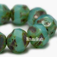 8mm Baroque Beads Sea Green with Picasso Finish