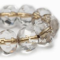 6x8mm Rondelle Transparent Glass with Gold Lining