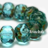 6x8mm Rondelle Turquoise with Picasso Finish