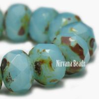 6x8mm Rondelle Medium Sky Blue with Picasso Finish