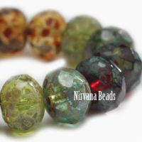 6x8mm Rondelle Red, Green Apple, Amber, Black, and Tea Green Mix