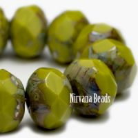 6x8mm Rondelle Peridot with Picasso Finish