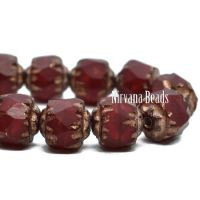 6mm Cathedral Ruby Red with a Bronze Finish and Copper Wash