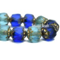 6mm Cathedral Sapphire and Sky Blue with Matte, Picasso, and Gold Finishes