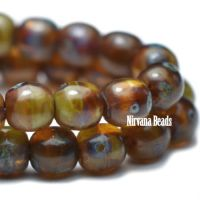 3mm Round Druk Amber with Picasso Finish