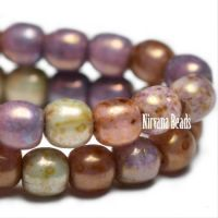 3mm Round Druk a Mix Of Grape, Dusty Rose, Sage, and Raw Umber