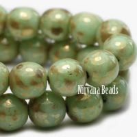 3mm Round Druk Light Sage with Picasso Finish