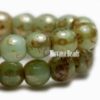 3mm Round Druk Sage with Picasso Finish