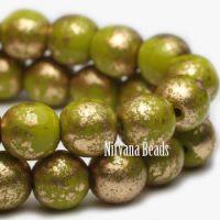 3mm Round Druk Avocado with Gold Finish