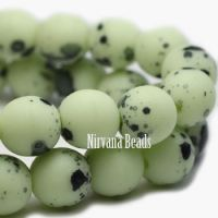 3mm Round Druk Laurel Green with Specks Of Black