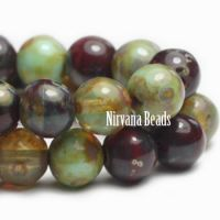 4mm Round Druk Sage and Red Oxide Mix