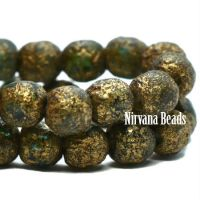 4mm Round Druk Sapphire with Picasso and Gold Wash and Etched Finish