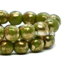 4mm Round Druk Avocado with Gold Finish