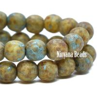 4mm Round Druk Honey with An Etched and Picasso Finish and a Turquoise Wash