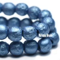 4mm Round Druk Metallic Blue with Etched Finish