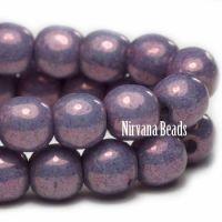 4mm Round Druk Purple Pansy with Metallic Finish