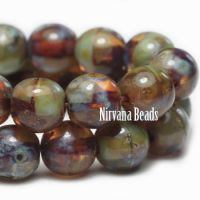 4mm Round Druk Brown and Sage with Picasso Finish