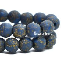 4mm Round Druk Blue with a Etched and Gold Finishes