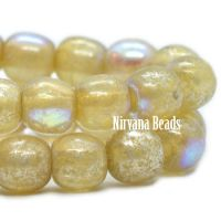 4mm Round Druk Yellow Ivory with An AB and Mercury Finish