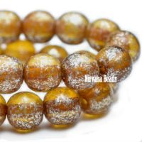 4mm Round Druk Amber with Mercury Finish