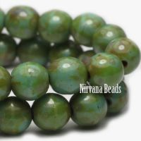 4mm Round Druk Tea Green with Picasso Finish
