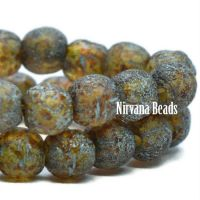 4mm Round Druk Amber with Picasso and Turquoise Wash and Etched Finish