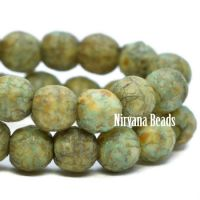 4mm Round Druk Tea Green and Yellow Ivory with Picasso and Etched Finish