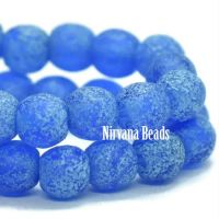 4mm Round Druk Cobalt with Turquoise Wash and Etched Finish