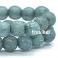 4mm Round Druk Slate Blue with Picasso and Etched Finish and Turquoise Wash