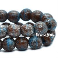 4mm Round Druk Chocolate and Pacific Blue with Mercury and Etched Finish