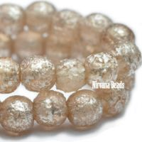 4mm Round Druk Peach with Etched Mercury Finish