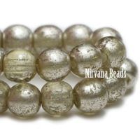 4mm Round Druk Pale Olive with Mercury Finish
