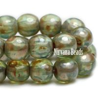 4mm Round Druk Sage with Picasso Finish