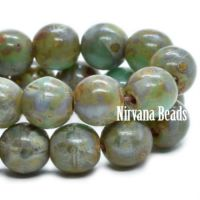 6mm Round Druk Fern and Green with Picasso Finish