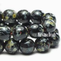 6mm Round Druk Black with Picasso Finish