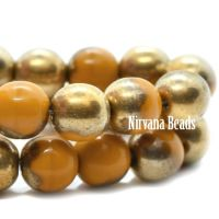 6mm Round Druk Yellow-Gold with a Gold Finish