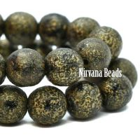 6mm Round Druk Black with An Etched Finish and a Gold Wash