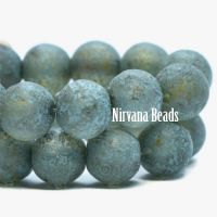 6mm Round Druk Tea Green with Picasso and Etched Finish and Turquoise Wash