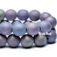 6mm Round Druk Purple Pansy Mix