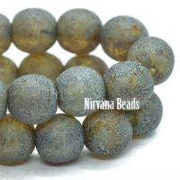 6mm Round Druk Amber with Picasso and Turquoise Wash and Etched Finish